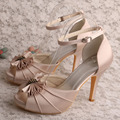 (20 Colors)Super Quality Nude Woman Wedding Shoes Bridal Sandals Bow Big Size 41
