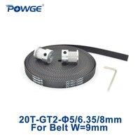 Powge 2 pçs 20 dentes gt2 polia cronometrando furo 5mm 6.35mm 8mm + 3 metros de largura 9mm gt2 abrir correia dentada pequena folga 20 dentes 20 t|pulley bore|timing pulley boretiming pulley -