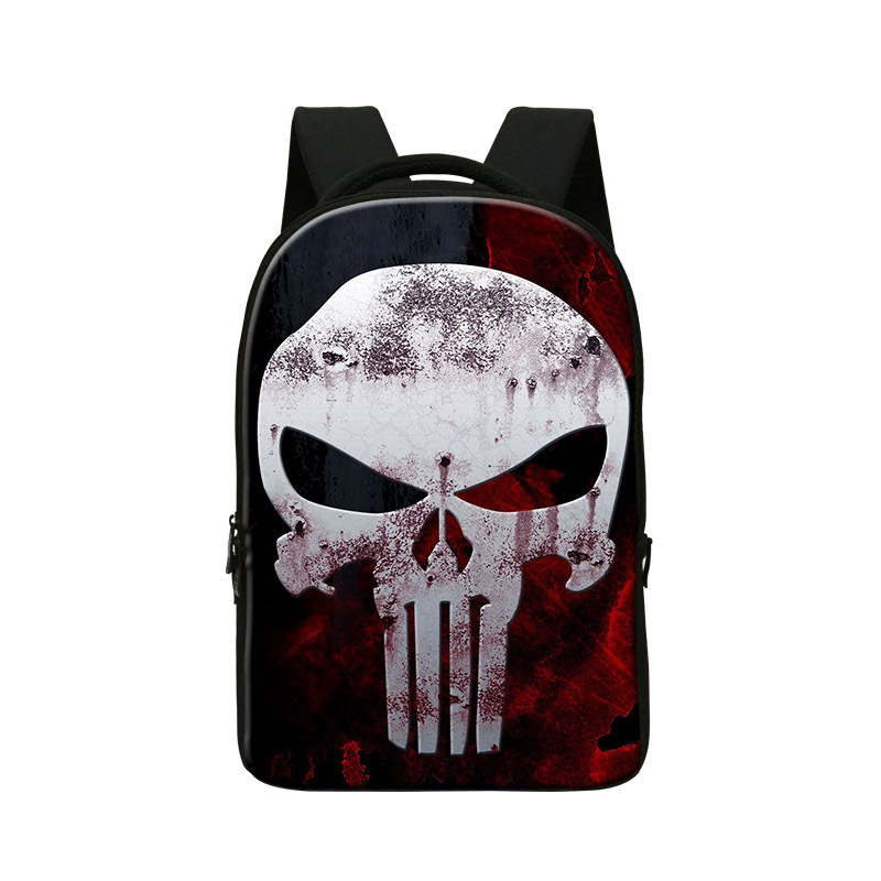 Stylish skull backpack for young men Cool mens back pack bag for laptop 14 inch college students bookbags fashion school bag