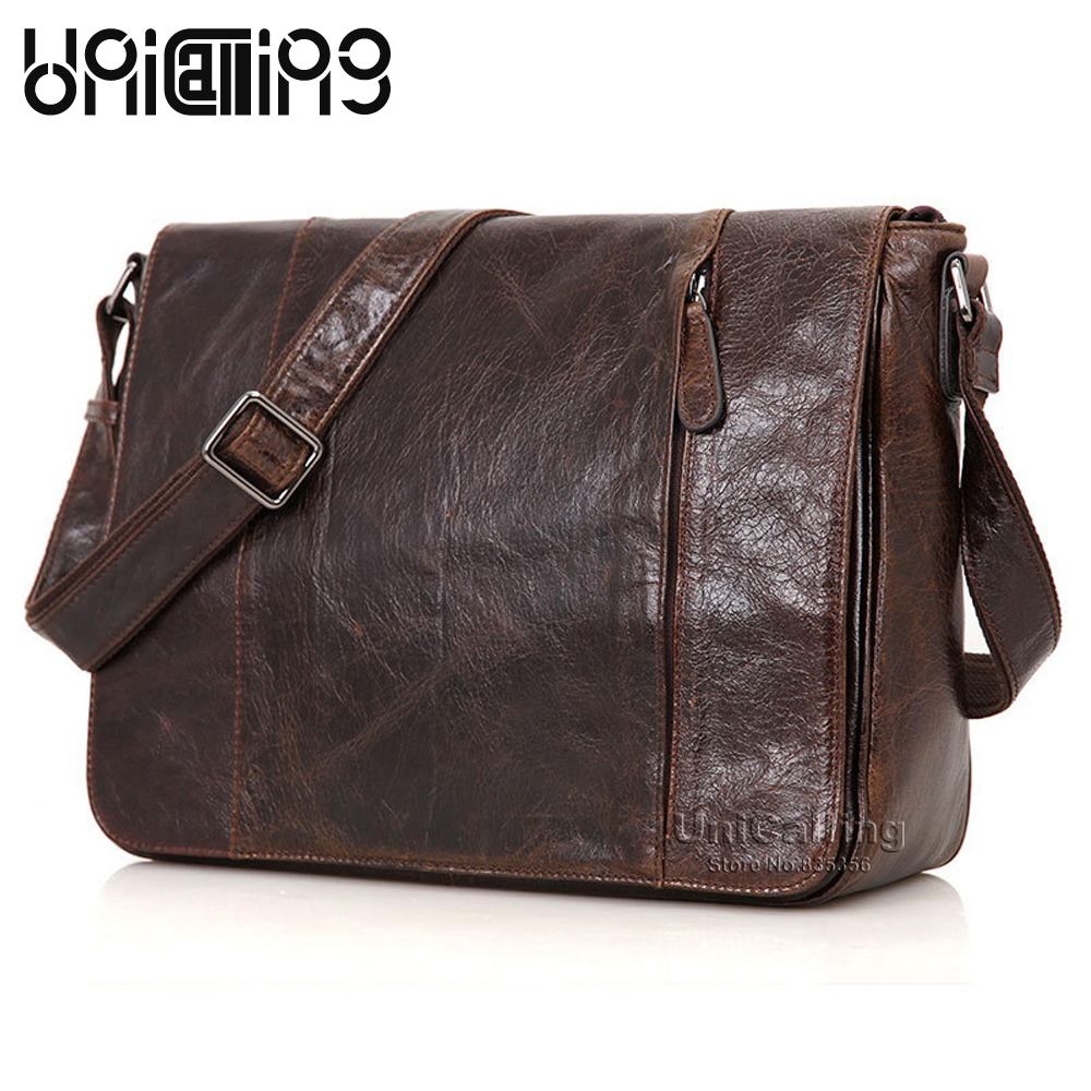 UniCalling brand genuine leather men shoulder bag leather crossbody bag for 14 inch tablet laptop flap cover men messenger bag unicalling brand men genuine leather bag