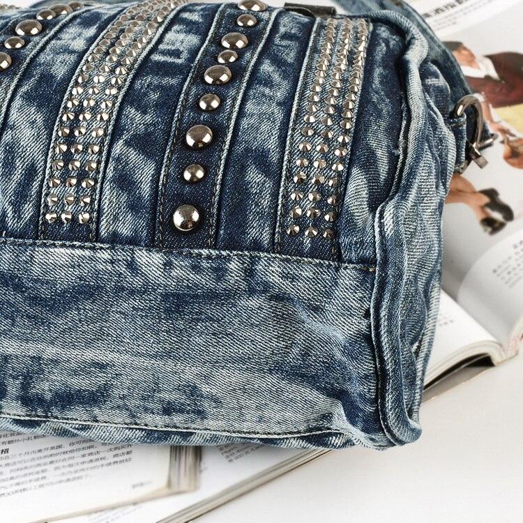 Rivets Femmes Nouveaux Main Zipper Messenger jeans Bandoulière Totes Mode Denim Jean Sac Dame Vintage Femme De Sacs Noir Conception La À Blue Jeans Pour xYYrfnC5q