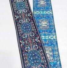 2 (5 cm x 7 Metre) şık mavi sahası lüks dokuma Ulusal rüzgar nakış Polyester Dokuma Jakarlı Şerit DIY kostüm dantel