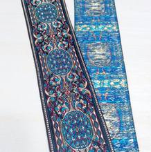 2(5cmx7Meter )classy blue court luxury webbing  National wind embroidery Polyester Woven Jacquard Ribbon DIY costume lace
