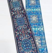 Cinta Azul de lujo con diseño de viento nacional, tejido de poliéster, Jacquard, encaje para disfraz, 2 pulgadas (5cm x 7 metros)