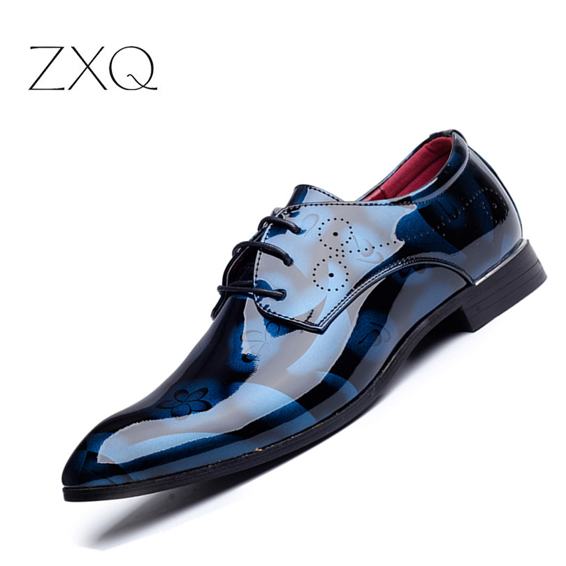 Plus Size Men Formal Dress Shoes Luxury Patent Leather Pointed Toe Floral Pattern Leather Shoes Men Oxford Shoes TYS-35 patent leather men s business pointed toe shoes men oxfords lace up men wedding shoes dress shoe plus size 47 48