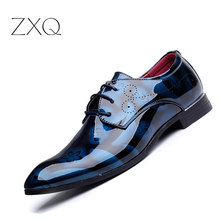 Plus Size Men Formal Dress Shoes Luxury Patent Leather Pointed Toe Floral Pattern Leather Shoes Men Oxford Shoes TYS-35