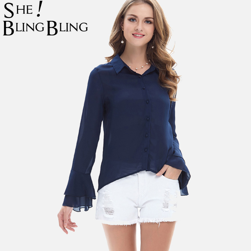 SheBlingBling 2 Colors Work Casual Shirts Women Long Sleeve Fashion Double Layer Flared Cuff Chiffon Shirts Dip Hem Blouses