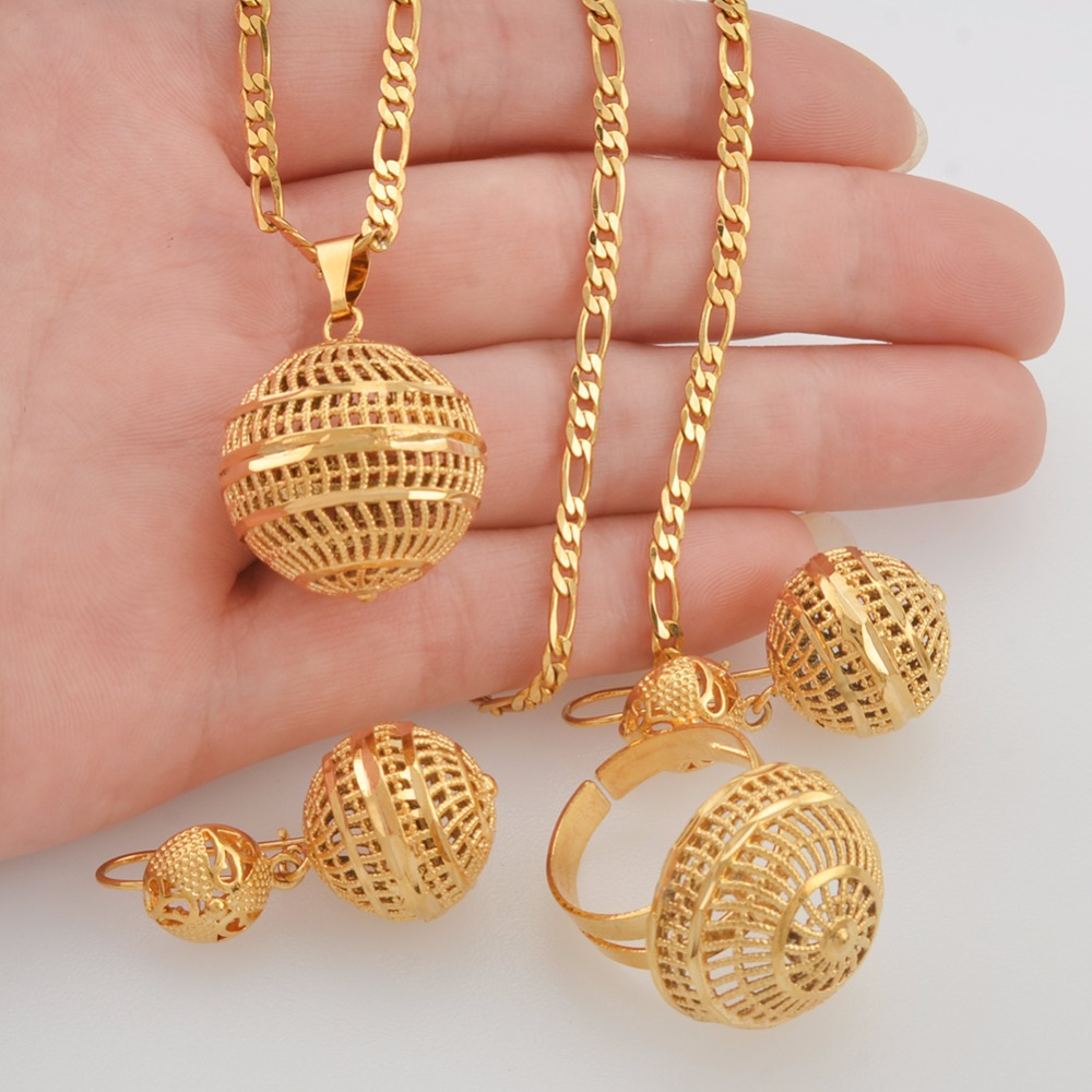 8d853e533751b Anniyo African Beads Jewelry Sets Pendant Necklaces Earrings Ring Women  Gold Color Round Ball Chains Papua New Guinea PNG #J0065