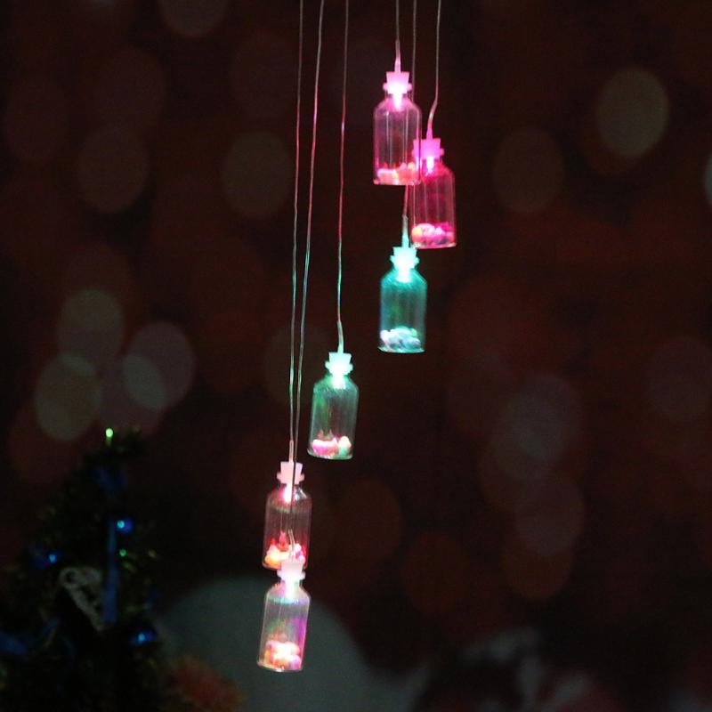 Solar Panel Wind Chimes Lamps Luck Bottles Color Changing Glass Solar Light Romantic Solar Power Light Mobile Hanging Lamp