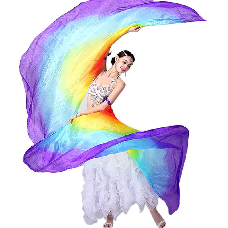 100% Silk Belly Dance Stage Costume <font><b>Isis</b></font> <font><b>Wings</b></font> Scarf Viel Fan 1 Pair Stage Performance Props Shawl Veils image