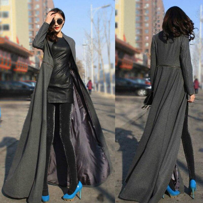 Femmes Automne Hiver Laine Manteau Manteau Long Femme Section Laine Drap De Laine Manteau Ladyvostok Rouge Noir Manteau Abrigo Inviern