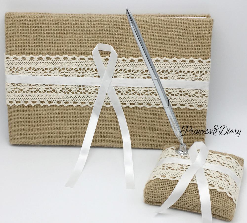 4 pièces/ensemble Vintage Hesian toile de jute mariage livre d'invité et ensemble de stylo et anneau oreiller et panier de fleurs fournitures de décoration de mariée, avec boîte-cadeau - 2