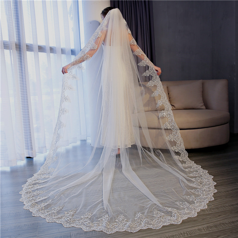 2018 velos de novia 4 Meters 2T White Ivory Sequins Blings Sparkling Lace Edge Purfle Long