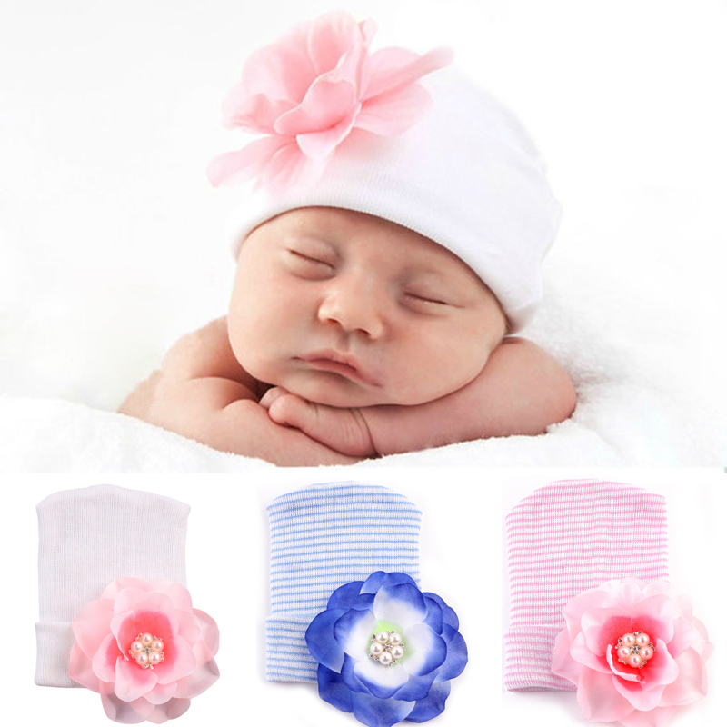 Baby Spring Hat Newborn Infant Soft Beanie Hospital Hat With Big Flower Bebe Girls Cotton Knit Beanie Striped Caps Accessories