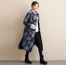 Winter Long jacket retro Chinese style Stand collar women's cotton padded Trench Coat thickened Vintage Flower pattern clothes цена 2017