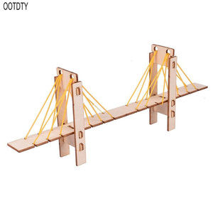 DIY Wooden Cable Stayed Bridge Puzzles Assembly Kit Experimental Science Toy For Kids Children Early Educational Birthday Gifts
