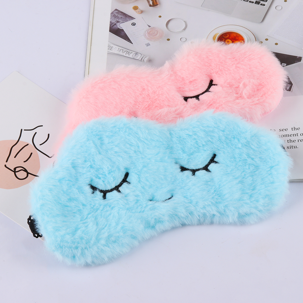 1PC Super Soft Plush Cartoon Cloud Eye Masks Blindfold Cute Eyelash Sleep Shade Eyepatch Sleeping Aid Eye Patches Eye Care Tools(China)