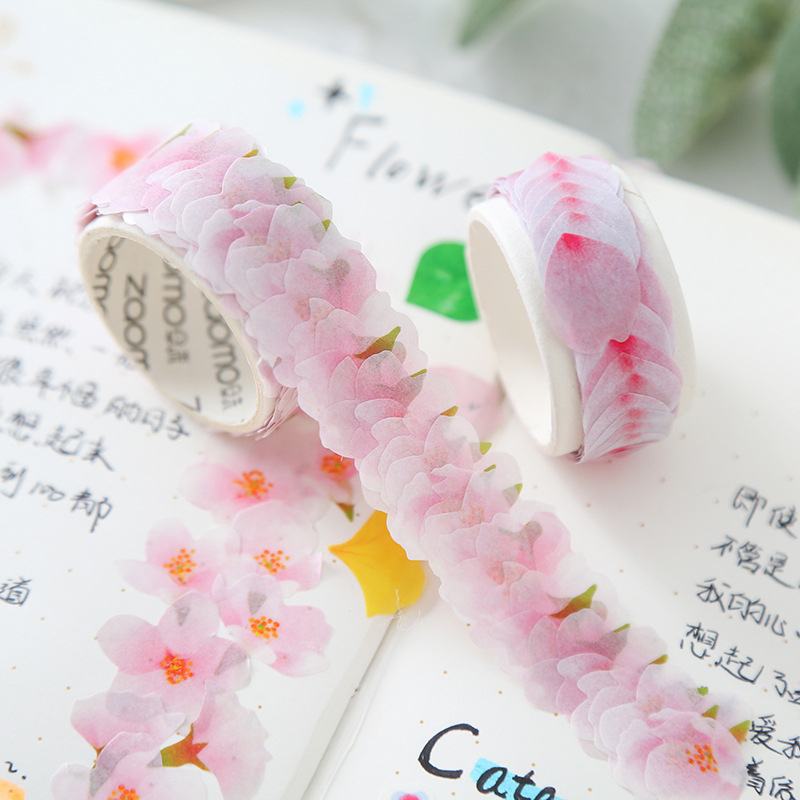 200pcs/Roll Petals Decoration Washi Tape Scrapbooking Paper Stickers Japanese Cherry Blossom Sticker For Diary DIY Decorative