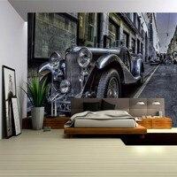 Free Shopping Street Vintage Car Retro Backdrop Wallpaper Living Room Bedroom Restaurant Office Wallpaper Mural
