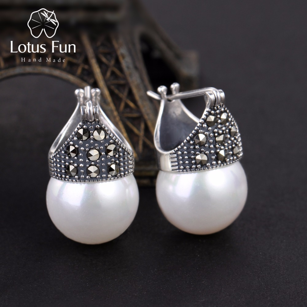 Lotus Fun Real 925 Sterling Silver Natural Mother Of Pearl Earrings Fine Jewelry Vintage Fashion Drop Earrings For Women Brincos