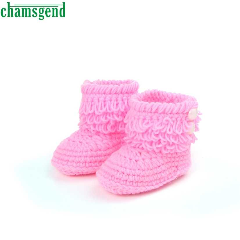 CHAMSGEND baby schoenen leuke mooie herfst winter Zomer Baby Meisjes Haak Handgemaakte Gebreide Hoge-top Tall Laarzen Schoenen S35