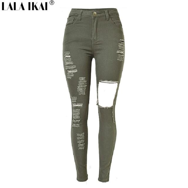 37ef380307 LALAIKAI Exército Verde Calça Jeans Boyfriend Jeans Mulheres De Cintura  Alta Calças Skinny Lápis Calças Jeans