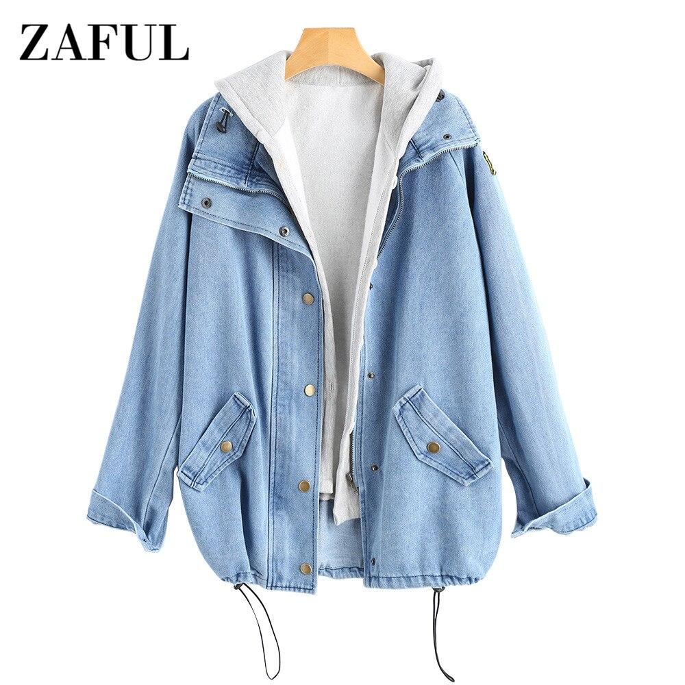 ZAFUL на пуговицах джинсовая куртка с капюшоном шт. 3XL Женский Жан плюс размеры Осень для женщин пальто 2018 модная уличная Veste Femme