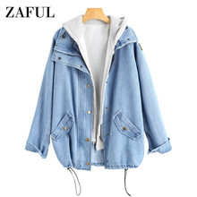ZAFUL Button Up Denim Jacke mit Kapuze 2 stück 3XL Weibliche Jean Plus  Größe Herbst Frauen Mantel 2018 Mode Streetwear veste Fem. 6f8a63a45b