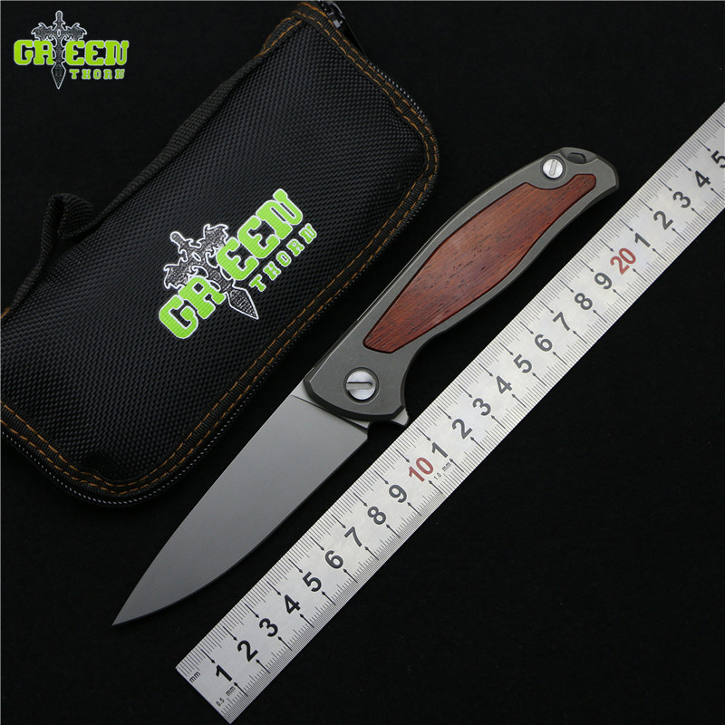 Green thorn Flipper 95 folding knife bearings D2 blade TC4 Titanium + wood handle outdoor camping hunting fruit Knives EDC tools quality tactical folding knife d2 blade g10 steel handle ball bearing flipper camping survival knife pocket knife tools