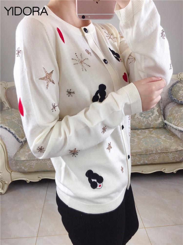 2018 Noir Nouvelle Embellie Étoile Noir blanc Main Coeur Et La Tricoté De Gamme Chandail Tricot Haut femmes À Perles Tissu Laine Cardigan blanc xZ1vSqF