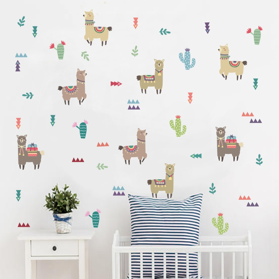 Cartoon Animals Indian Style Alpacas Wall Stickers Llama For Nursery Kids Rooms Wall Decor Wall Art Home Decoration Accessories(China)