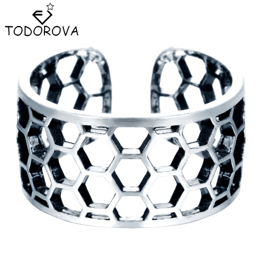 Delicious Todorova 925 Sterling Silver Wide Honeycomb Beehive Nest Honey Bee Adjustable Ring Knuckle Midi Pinkie Rings For Women Men Gift