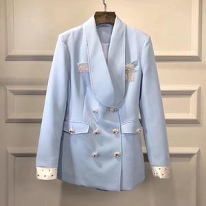 Image 4 - High street mais novo 2020 elegante designer blazer feminino xale colarinho strass botões duplo breasted longo blazer jaqueta