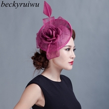 Fedora-Hat Fascinator Sinamay Beckyruiwu Hair-Accessories Grace-Headpiece Church Derby