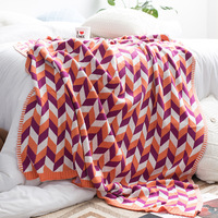 Pure cotton knitted textile pure handmade tapestry design blanket two color travel cover blanket soft 100% cotton good quality
