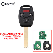 KEYYOU 4 Button Remote Control Key For Honda Pilot/Accord 2008 2009 2010 2011 2012 Fob 313.8MHz KR55WK49308 ID46 Chip With Blade(China)