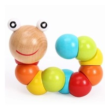 1pc Montessori Læring Utdanning Multicolor Magisk Twisting Insect Child Toy Wooden Puzzle Baby Train Fingers Fleksibilitet