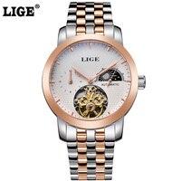ליגע ירח שלב אוטומטי של גברים מותג האופנה גבר שעון צלילה מזדמן עסקי שעוני גברים מלא פלדת שעון זהב relogio masculino