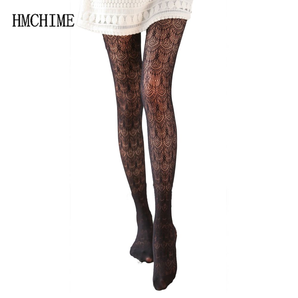 Hollow Out Lace Sexy Lace Women Pantyhose 9 Colors Solid Mesh Ladies Fishnet Tights Shiny Pantyhose Slim Female Tights ZB-H014