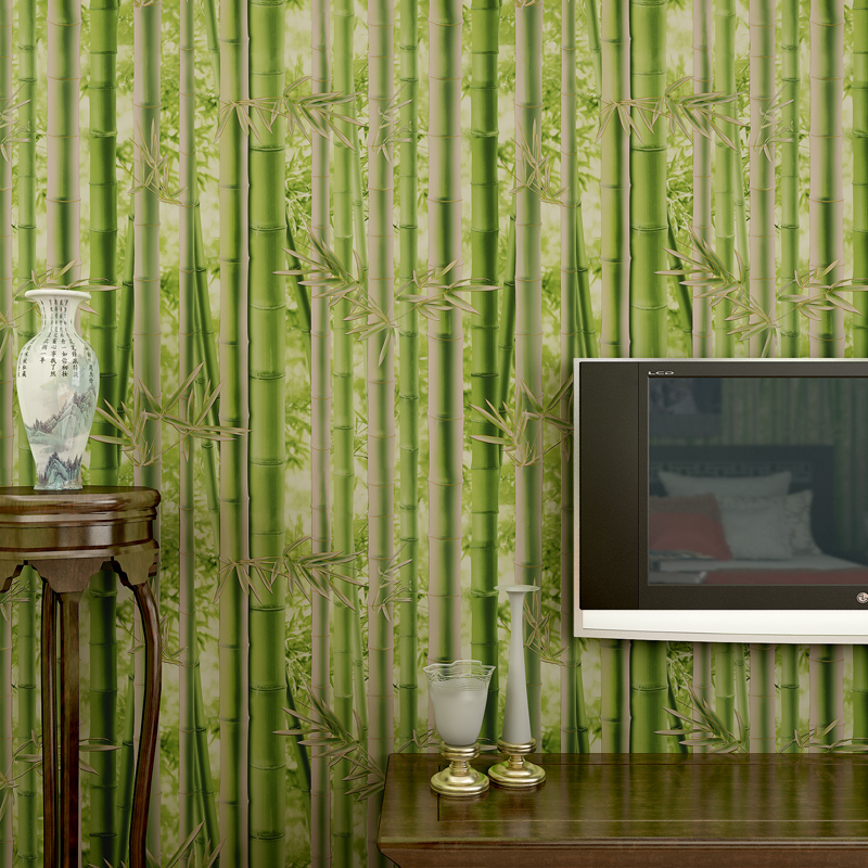 Pastoral Style Green Yellow 3D Bamboo Forest Wallpaper for Bedroom Living Room Background Wall Decor Non-woven Wall Paper Roll rustic wallpaper 3d stereoscopic wallpaper roll non woven pastoral wallpaper for walls bedroom wall paper pink for living room