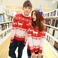 2016 Hot Sale New Arrival High Quality Christmas Sweaters for Couples Moose Reindeer Snowflake Polka Dots Print Pullovers S-XXL