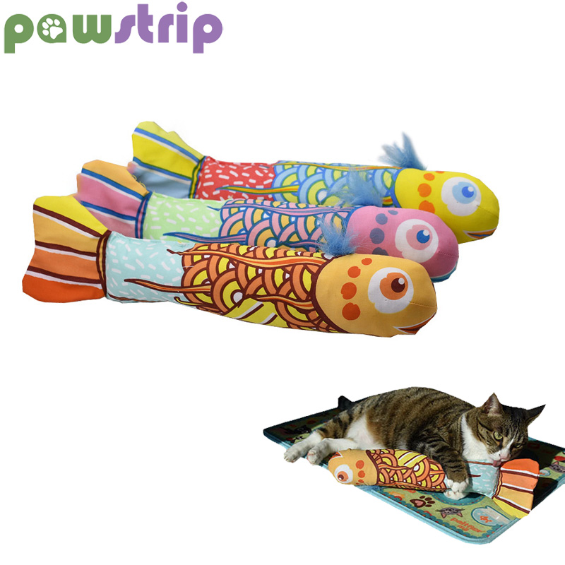 pawstrip 1pc Catnip Cat Toy Simulation Fish Cat Pillow With Ring Paper Soft Plush Stuffed Mint Chew Cat Scratch Toys
