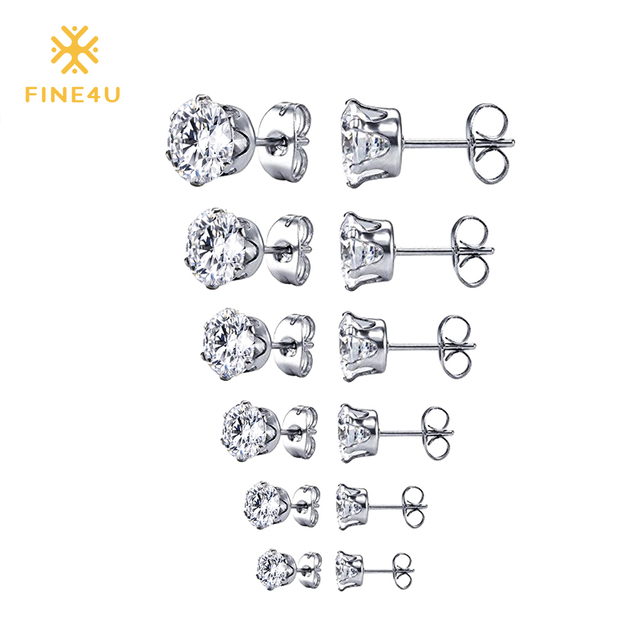 4fa88d80c 2018 New FINE4U E032 Cubic Zirconia Stud Earrings Sets For Women 316L Stainless  Steel Earrings Party Jewelry Gifts 6 Pairs