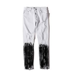 Выцветшие рваные Slim Fit половина Cotaed джинсы Для мужчин High Street уничтожены Для мужчин джинсы джинсовые штаны черный, белый цвет
