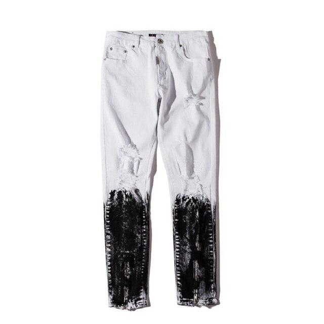 5db9858c77 Stonewashed Ripped Slim Fit Half Cotaed Jeans Men High Street Destroyed  Men s Jeans Denim Pants Black