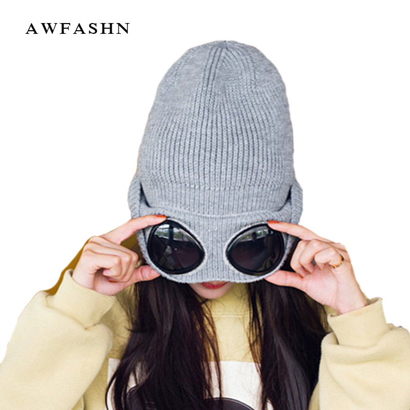 2017 Men Women Hip Hop Winter Hat Glasses Warm Knitted Beanie Hat Casual Alien Hip-hop Hat Knit Skullies Beanies Warm Female Cap