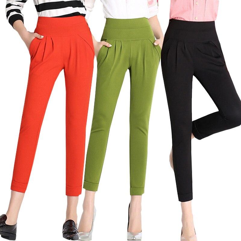 Hip hop harem   pants   for women lien elastic high waist loose casual trousers ladies pantalon femme   capri     pants   female Plus size