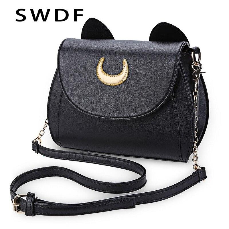 SWDF Estate Sailor Moon Borsa Delle Signore Nero Luna Cat Shape Catena Shoulder Bag In Pelle PU Donne Messaggero Crossbody Piccola Borsa