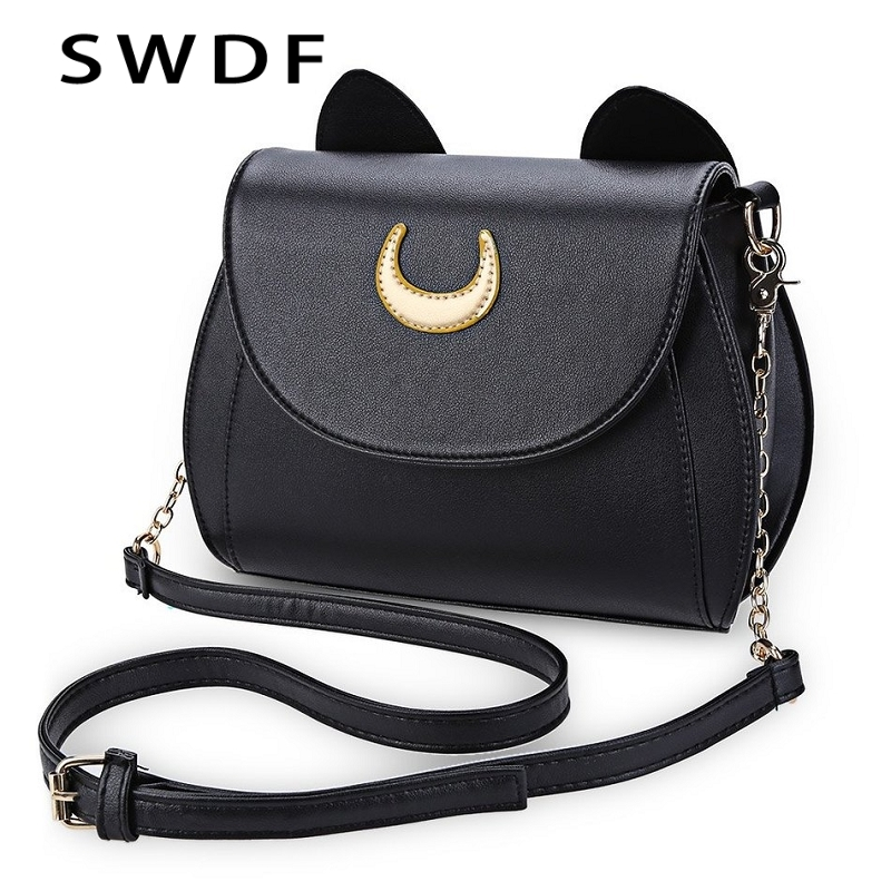 SWDF Summer Sailor Moon Ladies Handbag Black Luna Cat Shape Chain Shoulder Bag PU Leather Women Messenger Crossbody Small Bag vintage fashion letter book shape pu purse daily clutch bag ladies shoulder bag chain handbag crossbody mini messenger bag
