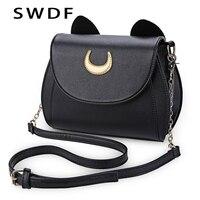 SWDF Summer Sailor Moon Ladies Handbag Black Luna Cat Shape Chain Shoulder Bag PU Leather Women